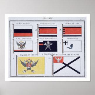 Russe diminue, d'un livre français des drapeaux, c