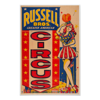 Russel Bros Greater American Circus Poster