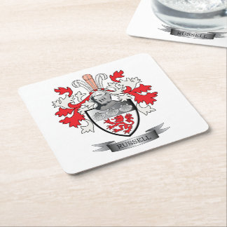 Russell Coat of Arms Square Paper Coaster