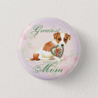 Russell Terrier Heart Mom 1 Inch Round Button
