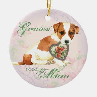 Russell Terrier Heart Mom Ceramic Ornament