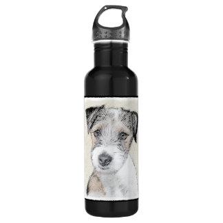 Russell Terrier Rough Painting - Original Dog Art 710 Ml Water Bottle