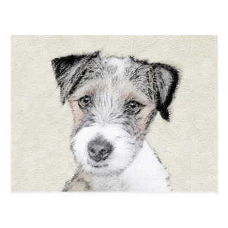 Russell Terrier Rough Painting - Original Dog Art Postcard