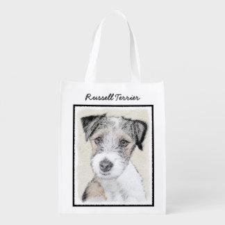 Russell Terrier Rough Painting - Original Dog Art Reusable Grocery Bag