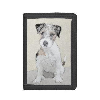 Russell Terrier Rough Painting - Original Dog Art Trifold Wallet