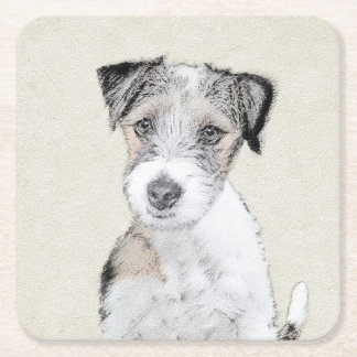 Russell Terrier (Rough) Square Paper Coaster