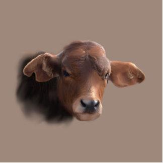 Russet Brown Cow PortraitP Photo Sculpture Button