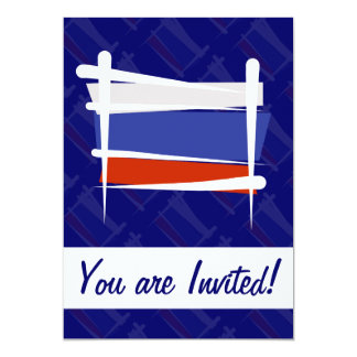 Russia Brush Flag 5x7 Paper Invitation Card