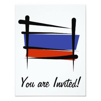 Russia Brush Flag 4.25x5.5 Paper Invitation Card