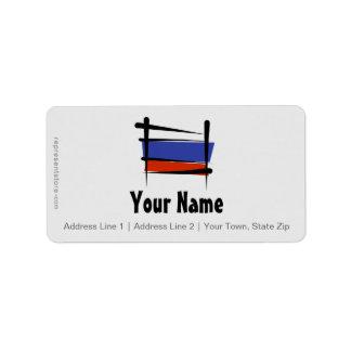 Russia Brush Flag Address Label