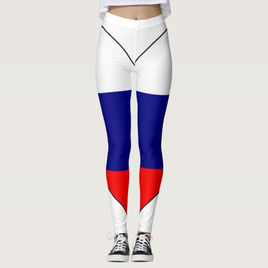 Russia Flag Heart Leggings