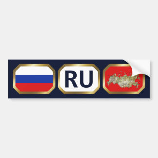 Russia Flag Map Code Bumper Sticker