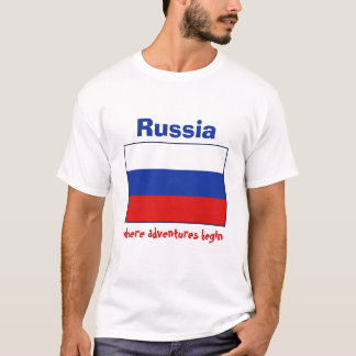 Russia Flag + Map + Text T-Shirt