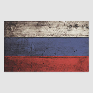Russia Flag on Old Wood Grain Sticker