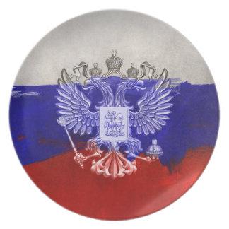 Russia Flag Paint Grunge Design Plates