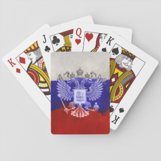 Russia Flag Paint Grunge Design Playing Cards