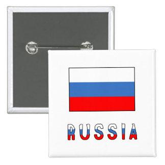 Russia Flag & Word 2 Inch Square Button