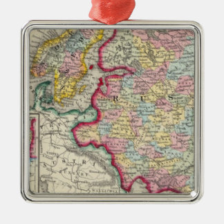 Russia In Europe, Sweden, And Norway Silver-Colored Square Ornament