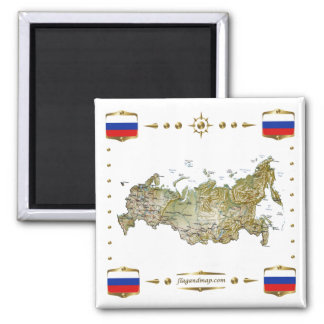 Russia Map + Flags Magnet