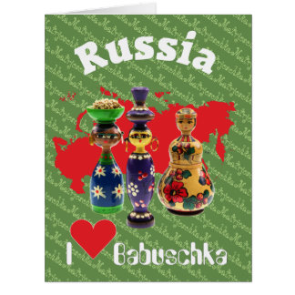 Russia - Russia babushka - Matrjoschka map Card