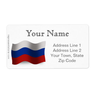 Russia Waving Flag Shipping Label