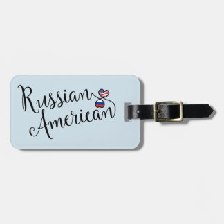 Russian American Entwined Hearts Luggage Tag