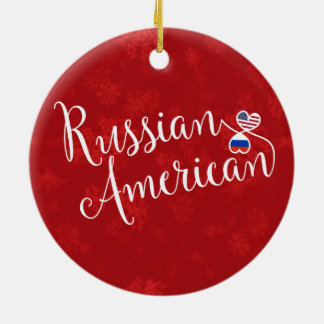 Russian American Hearts Flags Holiday Decoration