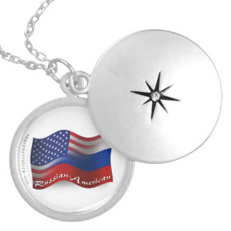 Russian-American Waving Flag Silver Plated Necklace