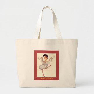 Russian Ballerina Caricature ~ Anna Pavlova Large Tote Bag