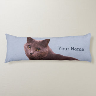 Russian Blue Cat Add Name Body Pillow