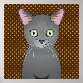 Russian Blue Cat Cartoon Paws Print