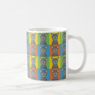 Russian Blue Cat Cartoon Pop-Art Coffee Mug