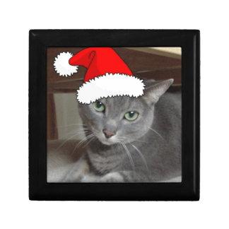 Russian Blue Cat Christmas Jewelry Box