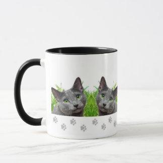 Russian Blue Cat Ringer Mug