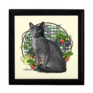 Russian Blue Cat with Berries Gift Box