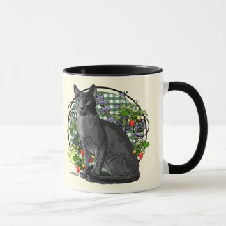 Russian Blue Cat with Berries Mug