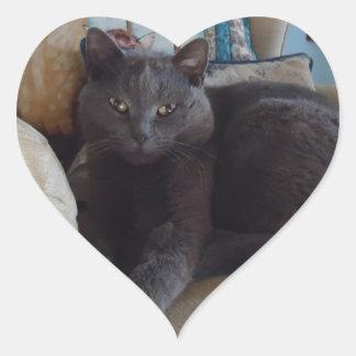 Russian Blue Heart Sticker