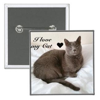 Russian Blue. I love my Cat ♥ 2 Inch Square Button