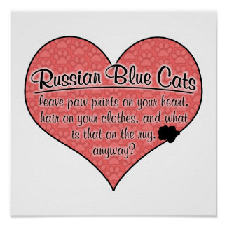Russian Blue Paw Prints Cat Humor Posters
