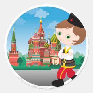 Russian boy classic round sticker