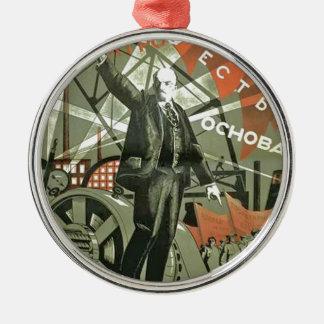 Russian Communist Propaganda Poster Metal Ornament