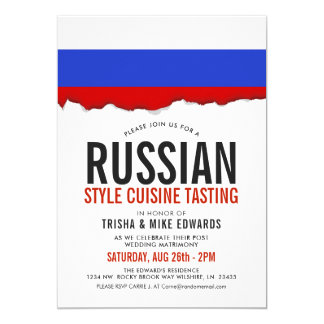 Russian Cuisine | Party Flag White Invite