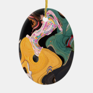 Russian dancers abstract ceramic oval ornament