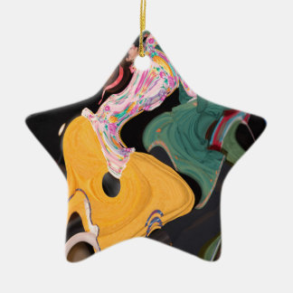 Russian dancers abstract ceramic star ornament