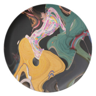 Russian dancers abstract dinner plate