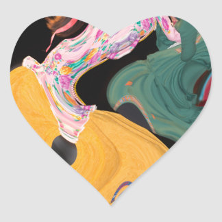 Russian dancers abstract heart sticker