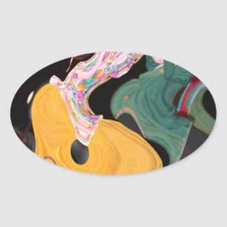 Russian dancers abstract oval sticker