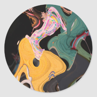 Russian dancers abstract round sticker