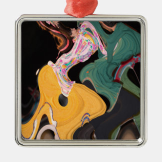 Russian dancers abstract Silver-Colored square ornament