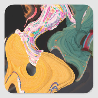 Russian dancers abstract square sticker